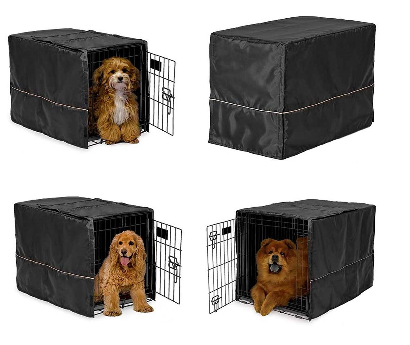 MidWest Homes for Pets Black Opaque Dog Crate Cover Selections - Quiet Night Time Den Like Security(XLarge 48'' Lx30 Wx33 H)