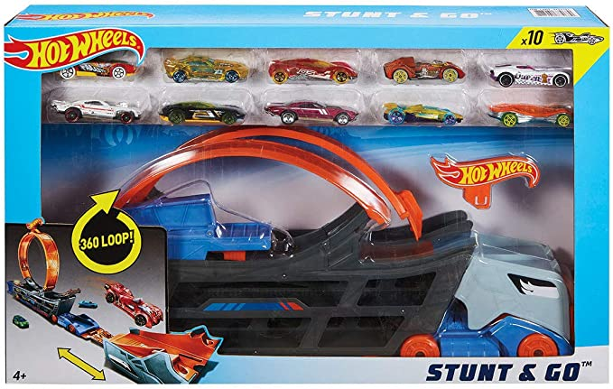 Hot Wheels Stunt & Go Mega Hauler Camión Transportador Pista De ...