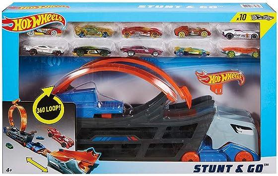 Hot Wheels Stunt & Go Mega Hauler Camión Transportador Pista De Acrobacias + 10 Coches: Amazon.es: Juguetes y juegos