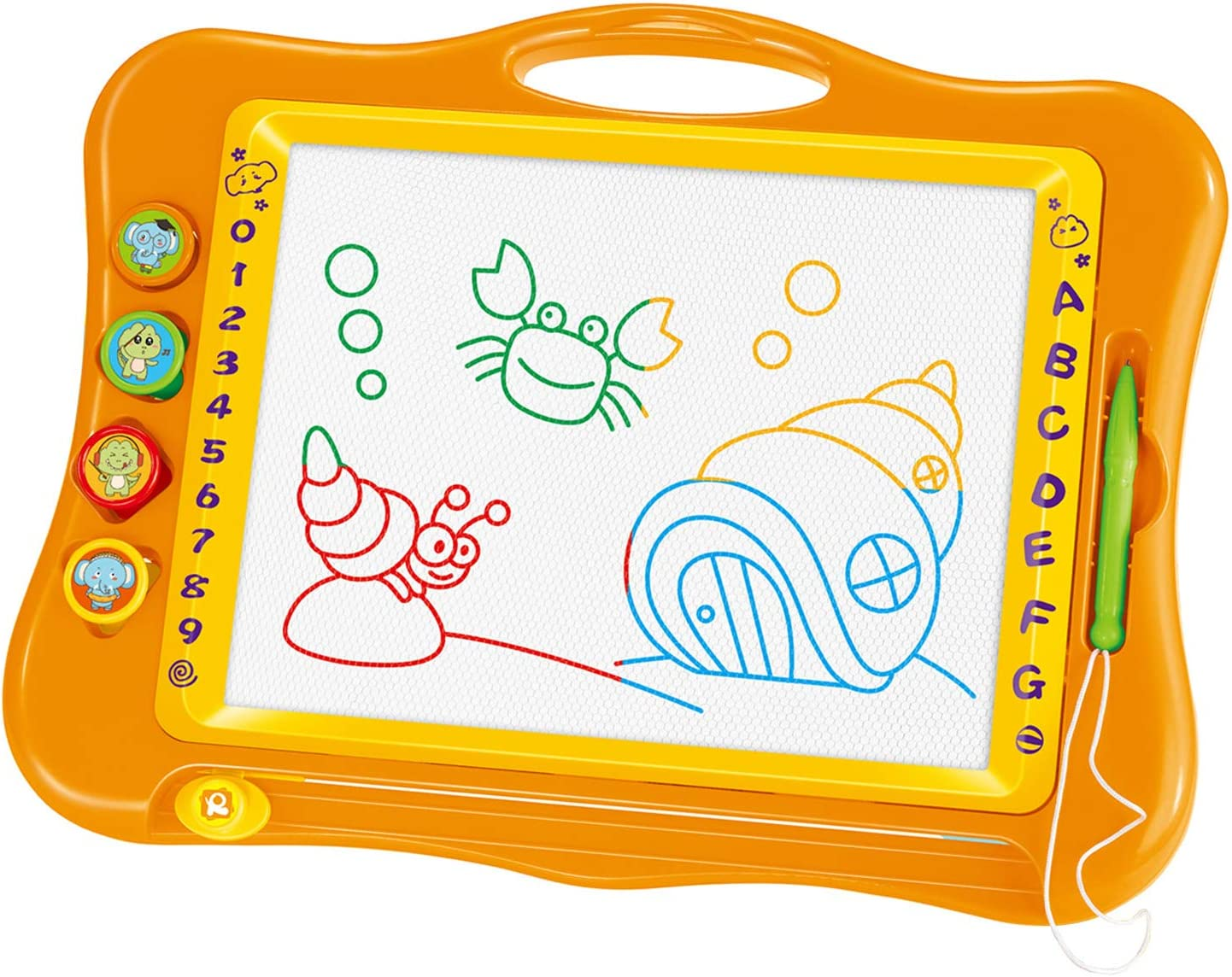 Chilartalent Large Magnetic Drawing Board Toy for Kids Writing, Drawing, Scribble, Doodle and Erasable Slate with Stamps