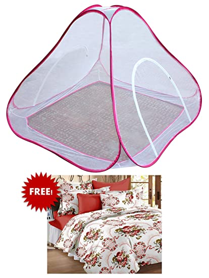 Bedspun Double Bed Pink mosquito net double bed Free Double Size Elegent 100 % Cotton Floral Bedsheets with 2 Pillow Covers, Vermilion
