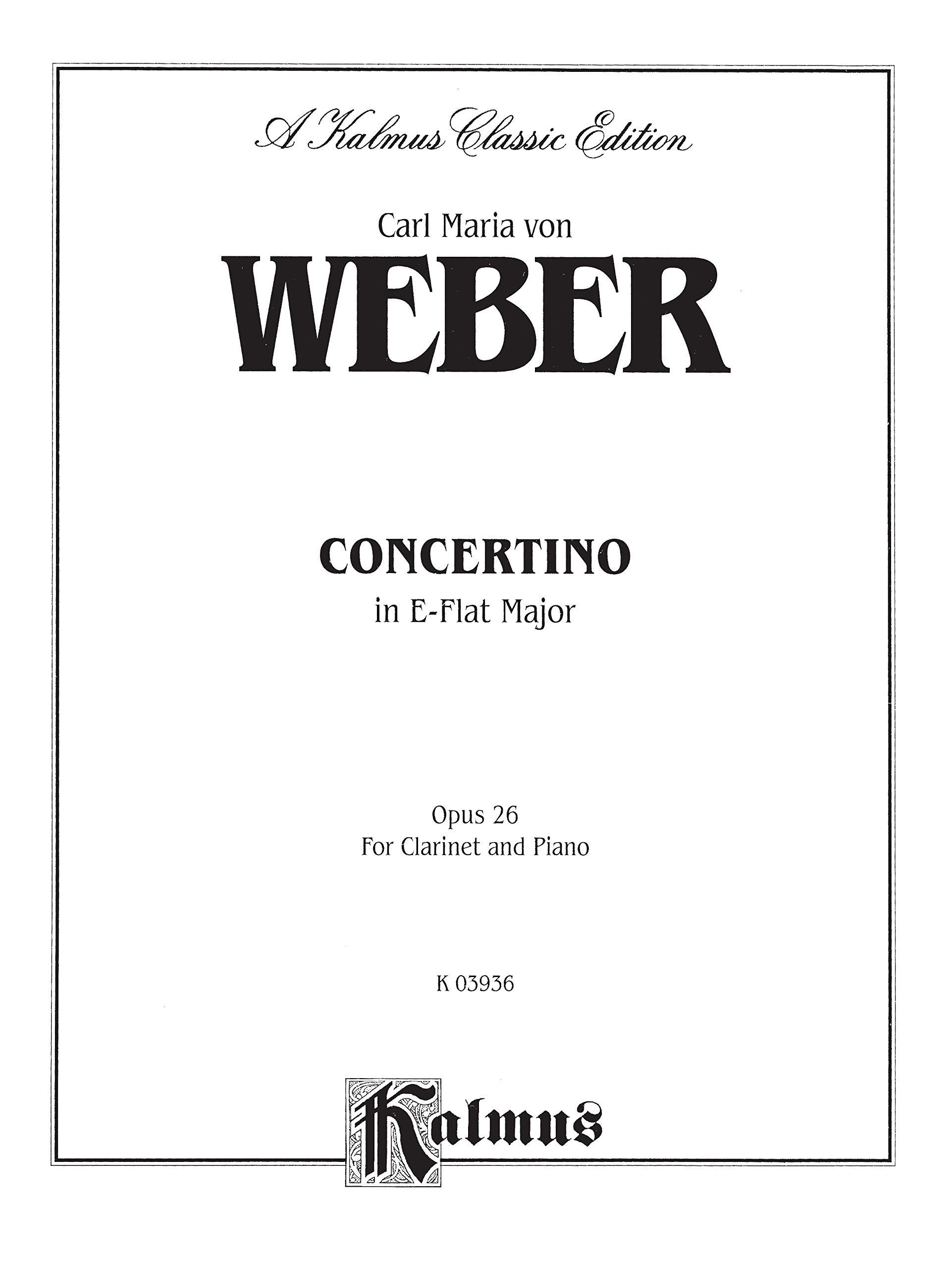 Carl Maria Von Weber Concertino In E Flat Op.26 Play Clarinet Piano Music Book