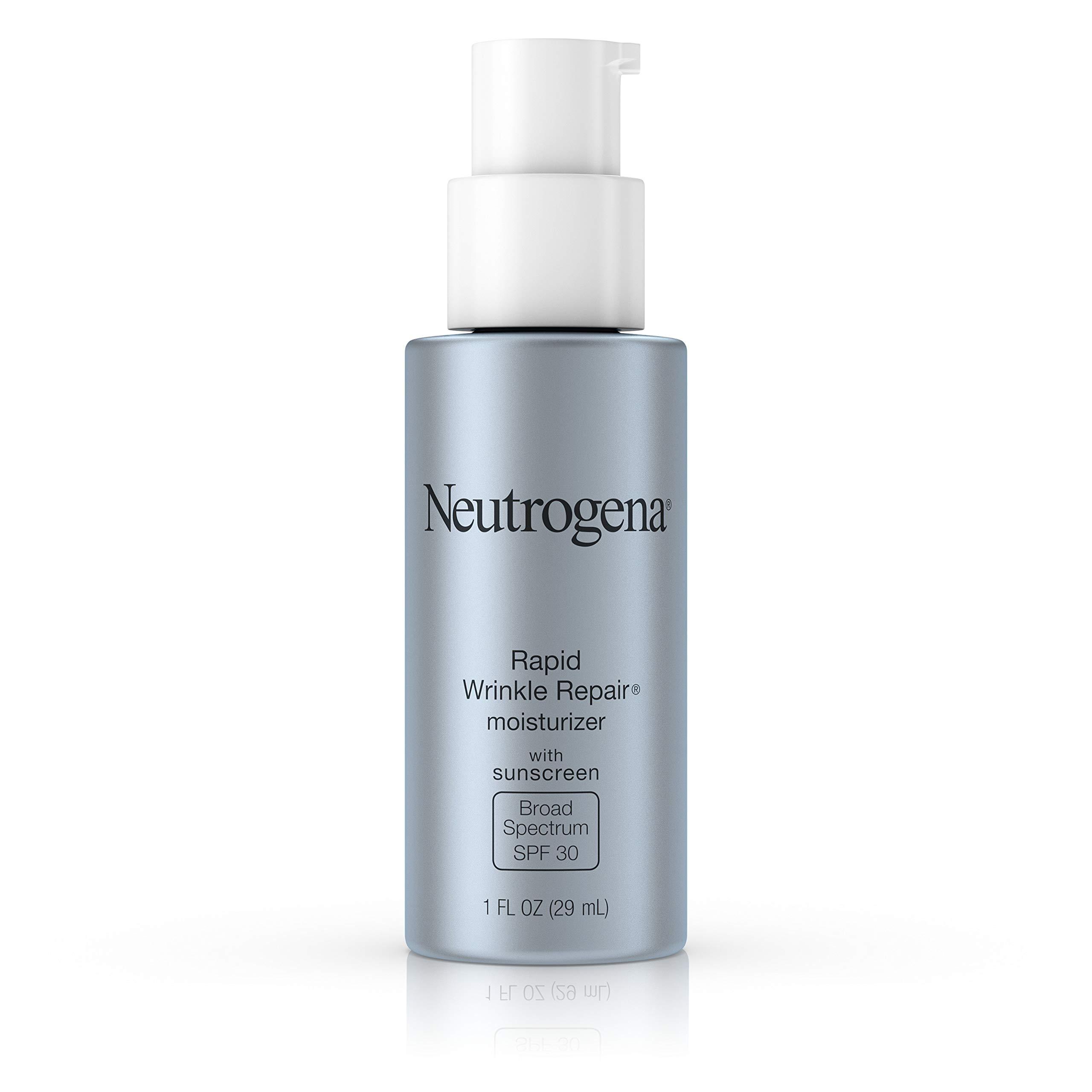 Neutrogena Rapid Wrinkle Repair Daily Retinol Anti-Wrinkle Moisturizer, Anti-Wrinkle Face & Neck Retinol Cream with Hyaluronic Acid, Retinol & Glycerin with SPF 30 Sunscreen, 1 fl. oz