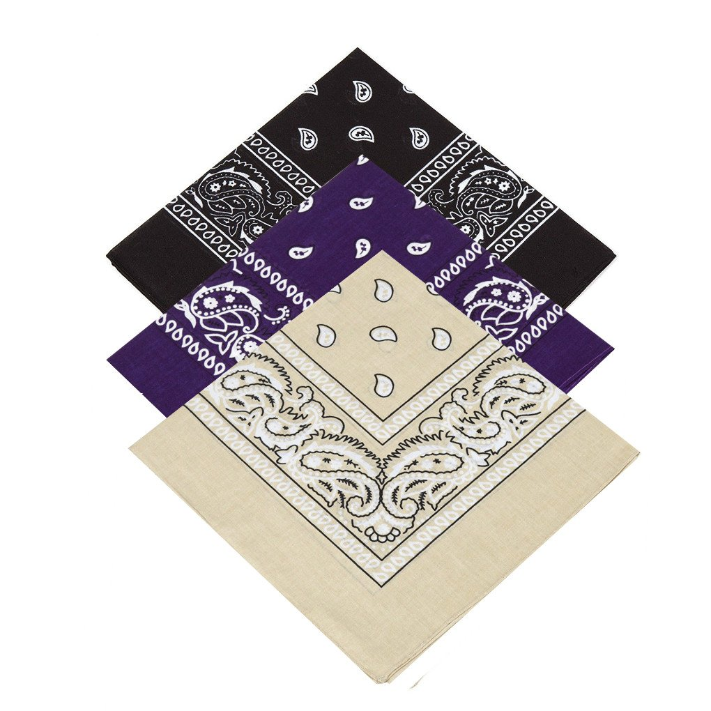 Pack of 3 X Paisley Bandana for Women, Men, Girls,Boys Handkerchief Hankie / Neckerchief / Neck Scarf / Head scarf / Bandanna / Head Tie 100% Cotton (Black,Purple,Beige)