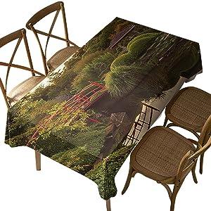 Rectangular Polyester Tablecloth,Japanese,Garden Zen Peace,Indoor Outdoor Spillproof Tablecloth Table Cover,for Spring Summer Patio Garden Tabletop Decor Oblong 60 x 84 Inch