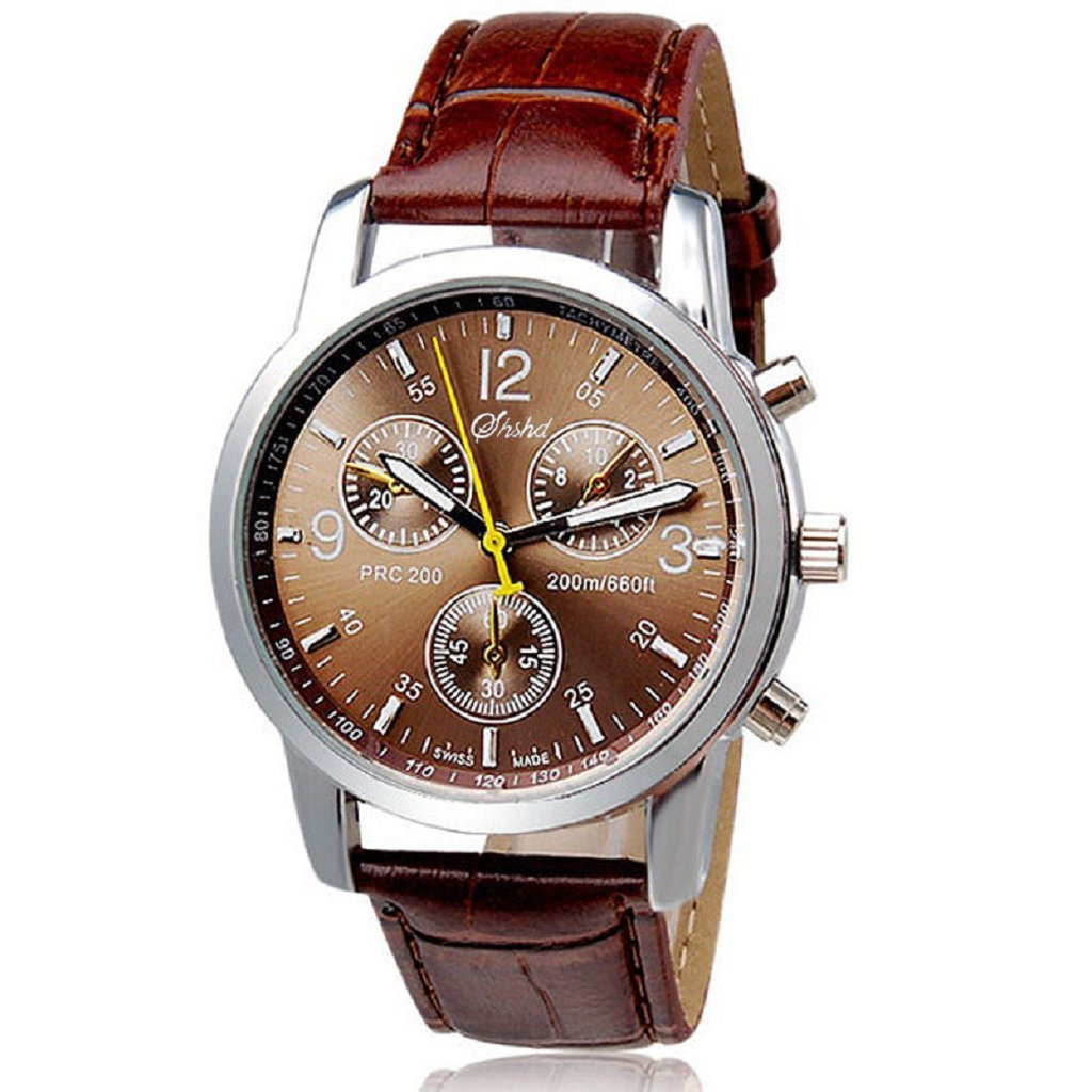 Clearance! Men Watches,Shinericed New Luxury Fashion Crocodile Faux Leather Band Analog Watch Watches for Mens (Brown)