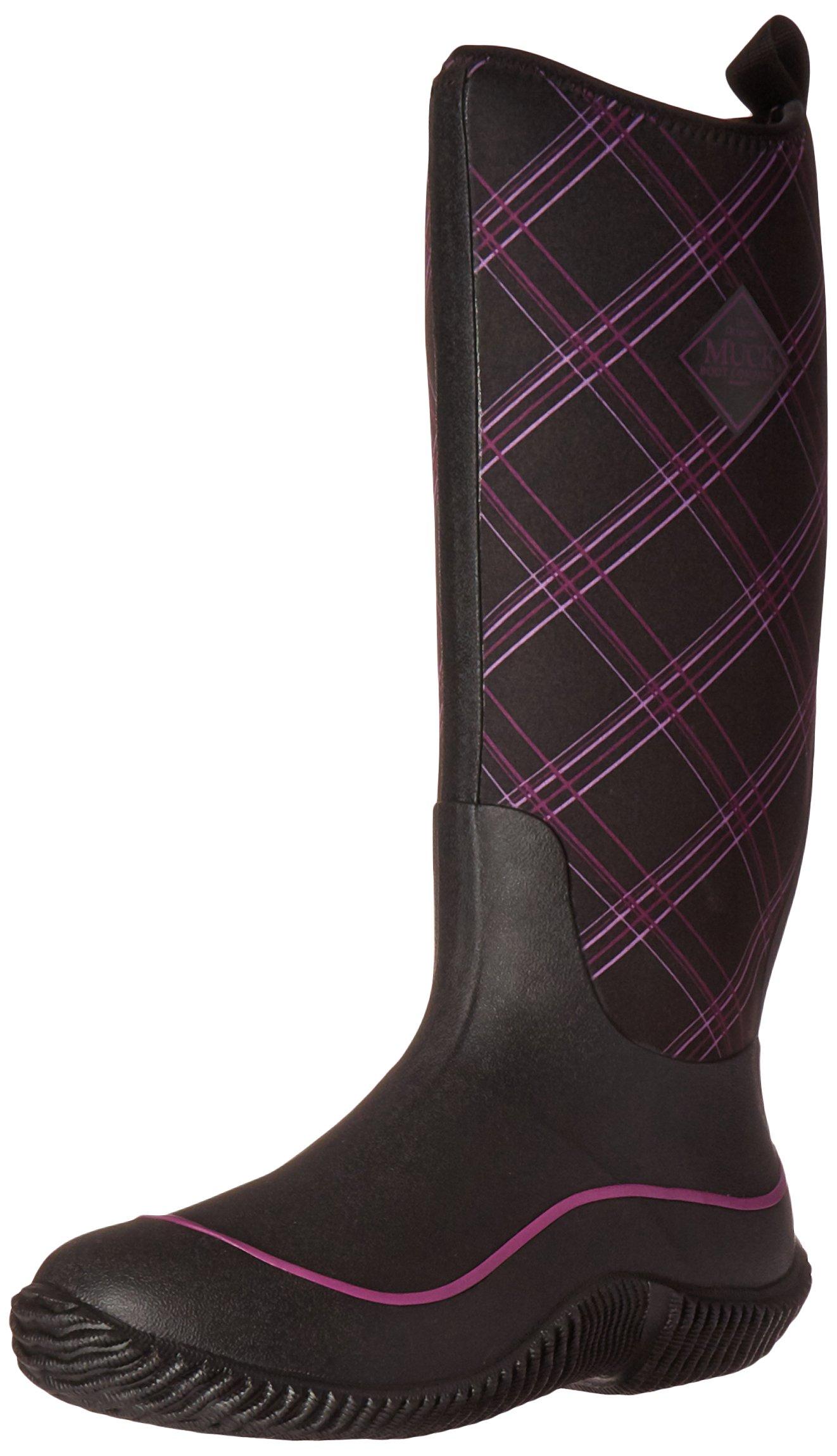 Muck Boots Hale Multi-Season Women's Rubber Boot, Black/Purple Plaid, 10 M US