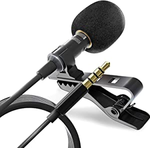 Wired Lavalier Microphone for Bloggers and Vloggers Lapel Mic Clip-on Omnidirectional Condenser for iPhone Ipad Samsung Android Windows Smartphones