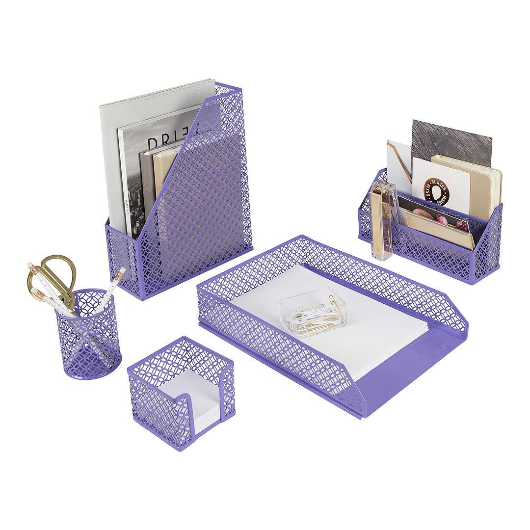 Blu Monaco 5 Piece Purple Desk Organizer Set - Desk Organizers and Accessories for Women - Cute Office Purple Desk Accessories - Desktop Organization