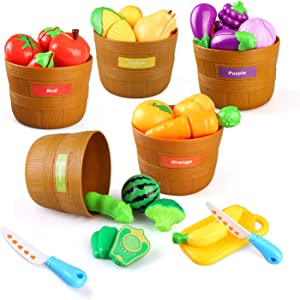 BeebeeRun Color Sorting Set with Play Food, 27PCS Play Kitchen Plastic Cutting Food for Kids Pretend Play, Fruits and Vegetables Playset, Kids Toddlers Educational Toys