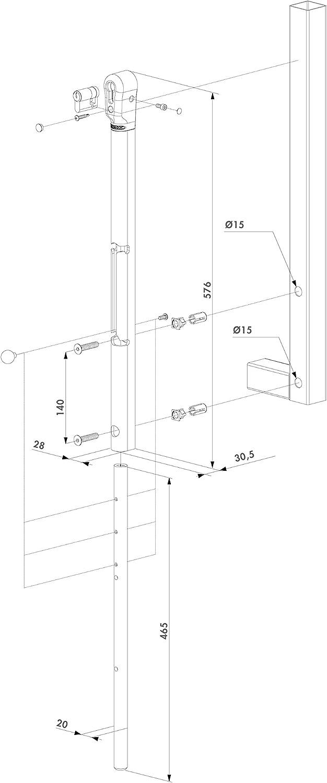 Verriegelbarer Stangenriegel RAL 9005 schwarz LOCINOX Keydrop
