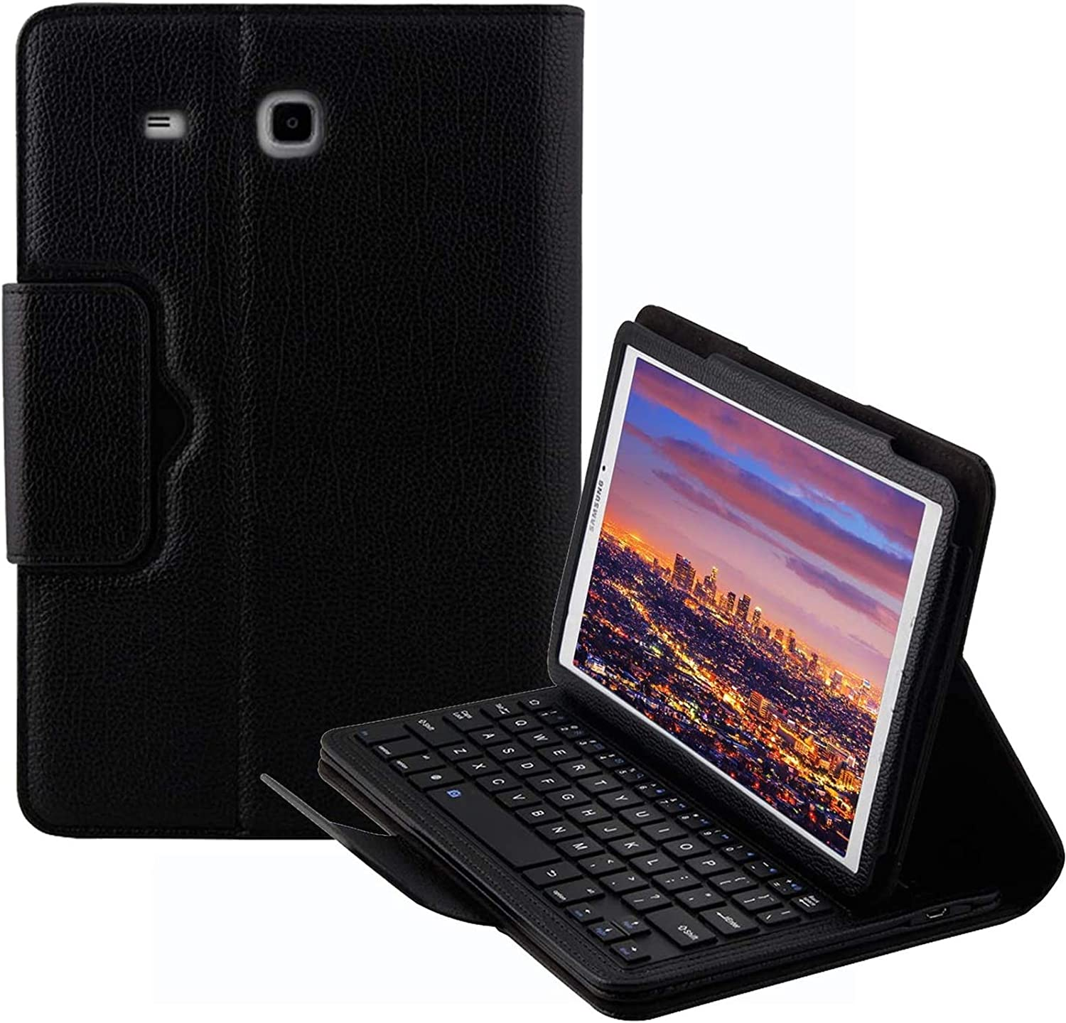Binguowang Keyboard Case for Samsung Galaxy Tab E 9.6' - Folio PU Leather Stand Case Cover with Detachable Wireless Keyboard for Samsung Galaxy Tab E 9.6-Inch (Black)
