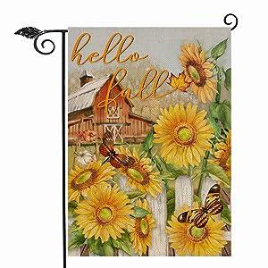 Hzppyz Hello Fall Sunflower Garden Flag, Flower Butterfly Farm Home Decorative House Yard Outdoor Decorations Sign, Autumn Welcome Decor Seasonal Farmhouse Small Burlap Flag Double Sided 12x18