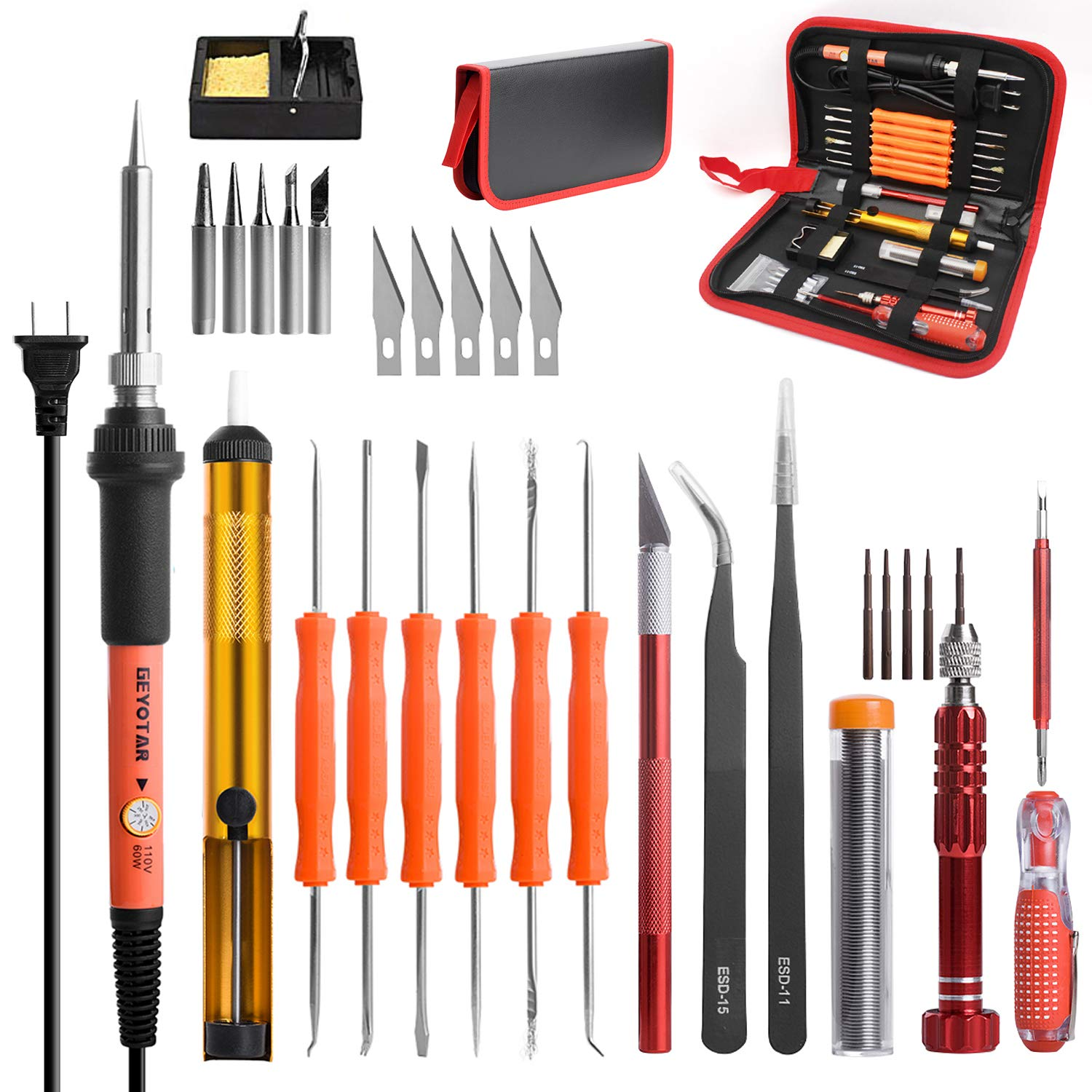 GEYOTAR Electric Soldering Iron Kit 110V 60W Adjustable Temperature Welding Tool Hobby Knife tweezers Desoldering Pump iron stand 5pcs Tips with Tool Carry bag