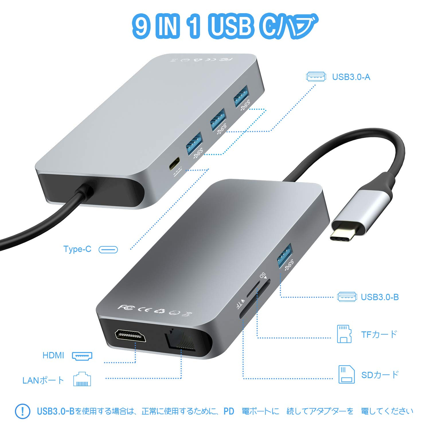 Thunderbolt 3 Type-C USB C to HDMI 4K*2K 3 Port USB 3.0 Hub Adapter For MacBook