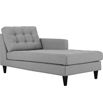 Modway EEI-2597-LGR Empress Right-Arm Upholstered Fabric Chaise Lounge, Light Gray
