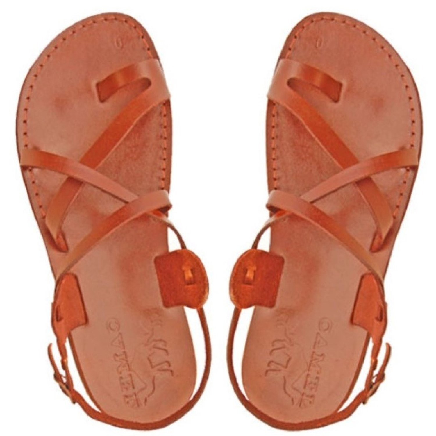 4a0aa8d06b1bd Jesus Sandals for Men in Leather-Made in Bethlehem, Israel-Gladiator Style,  Brown