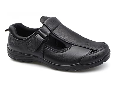 3cf281e4330be Dr Keller Justin Mens Faux Velcro Wide Fit Sandals Black UK 9 ...