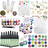 8 Pieces 30ML Crystal Epoxy Resin UV Glue, 1 Lamp Tweezer 36 Decoration 11Pcs Silicone Mould 100 Rings 13 Color Liquid Pigment 17 Metal Jewelry with 2X 5 Meters Tape For DIY Beauty