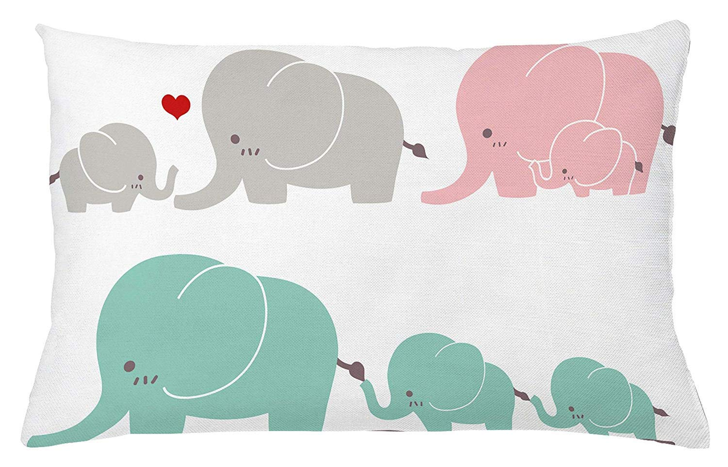Nursery Throw Pillow Cushion Cover, Family Love Theme Elephants Mother's Day Theme Baby Children, Decorative Rectangle Accent Pillow Case, 26'' X 16'', Seafoam Pink by JAMIE PARKIN Pillow