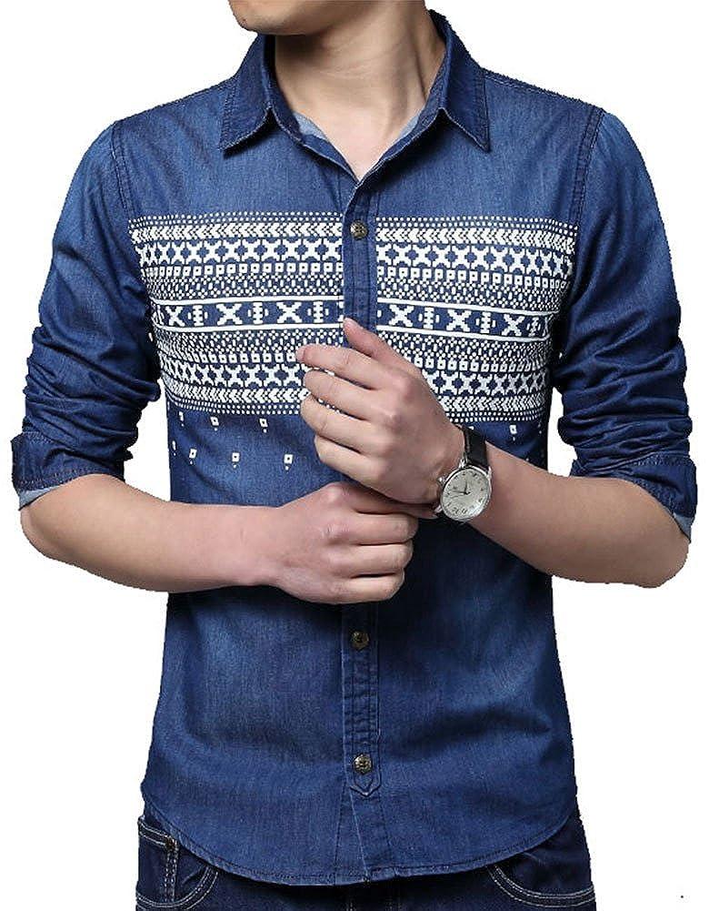 QZUnique Mens Plus Fashion Printed Long Sleeve Button Down Denim Shirt