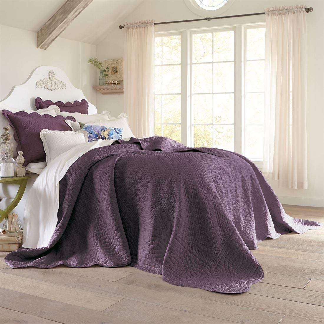 BrylaneHome Florence Bedspread (Plum,King)