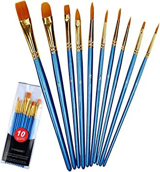 Paint Brush Set 10 Pcs Watercolor Gouache Acrylic Oil Art Artist Painting Nylon