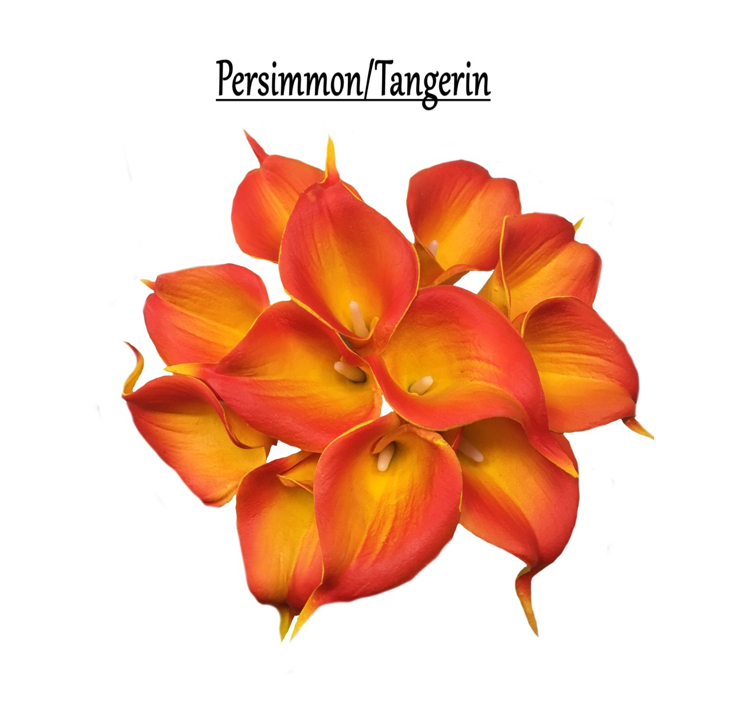 Angel Isabella, LLC 20pc Set of Keepsake Artificial Real Touch Calla Lily with Small Bloom Perfect for Making Bouquet, Boutonniere,Corsage (Persimmon Orange) by Angel Isabella, LLC