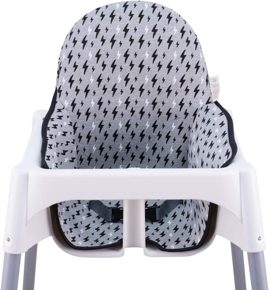 Janabebe Coussin pour le chaise haute Ikea Antilop (BLACK RAYO)