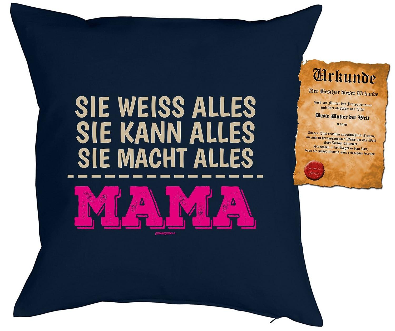 Weihnachtsgeschenk für Mama Kissen mit Füllung und Urkunde ...Sie ...