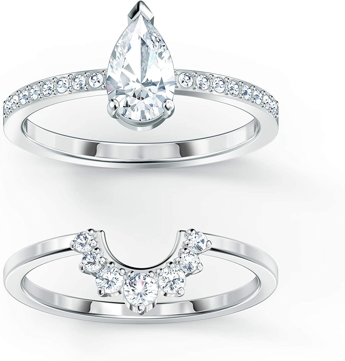 Attract Pear Ring Set Rhodium Plated White