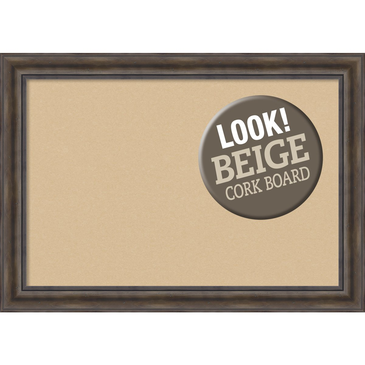 Amanti Art Framed Beige Cork Board Rustic Pine: Outer Size 42 x 30'', Extra Large