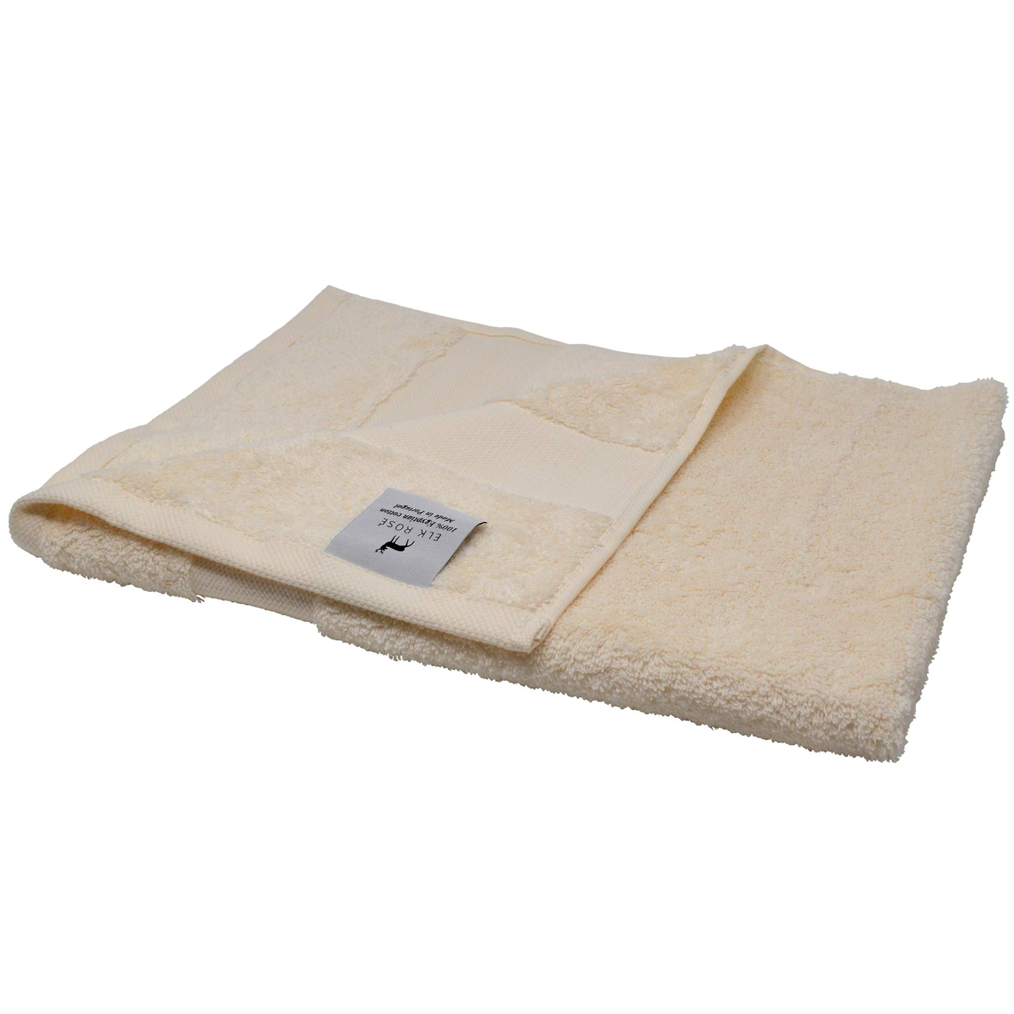 """ELK ROSÉ Extremely Soft & Fluffy 100% Egyptian """"Giza"""" Cotton Hand Towel for Hotels, Spas & Home (Ivory)"""