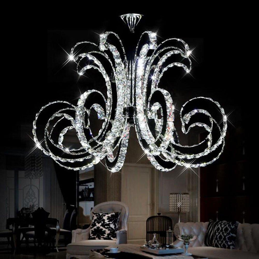 Getop D30.7 Inch X H19.68 Inch Modern Luxury LED Crystal Chandelier Art Lustre LED Chip Design Ceiling Light Fixture ( cold white )