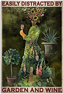 Easily Distracted By Garden And Wine Funny Sunflower Flower Lady For Women Vertical Poster No Frame Full Size 12x18 16x24 24x36 for Birthday, Christmas, X-mas, Halloween (12