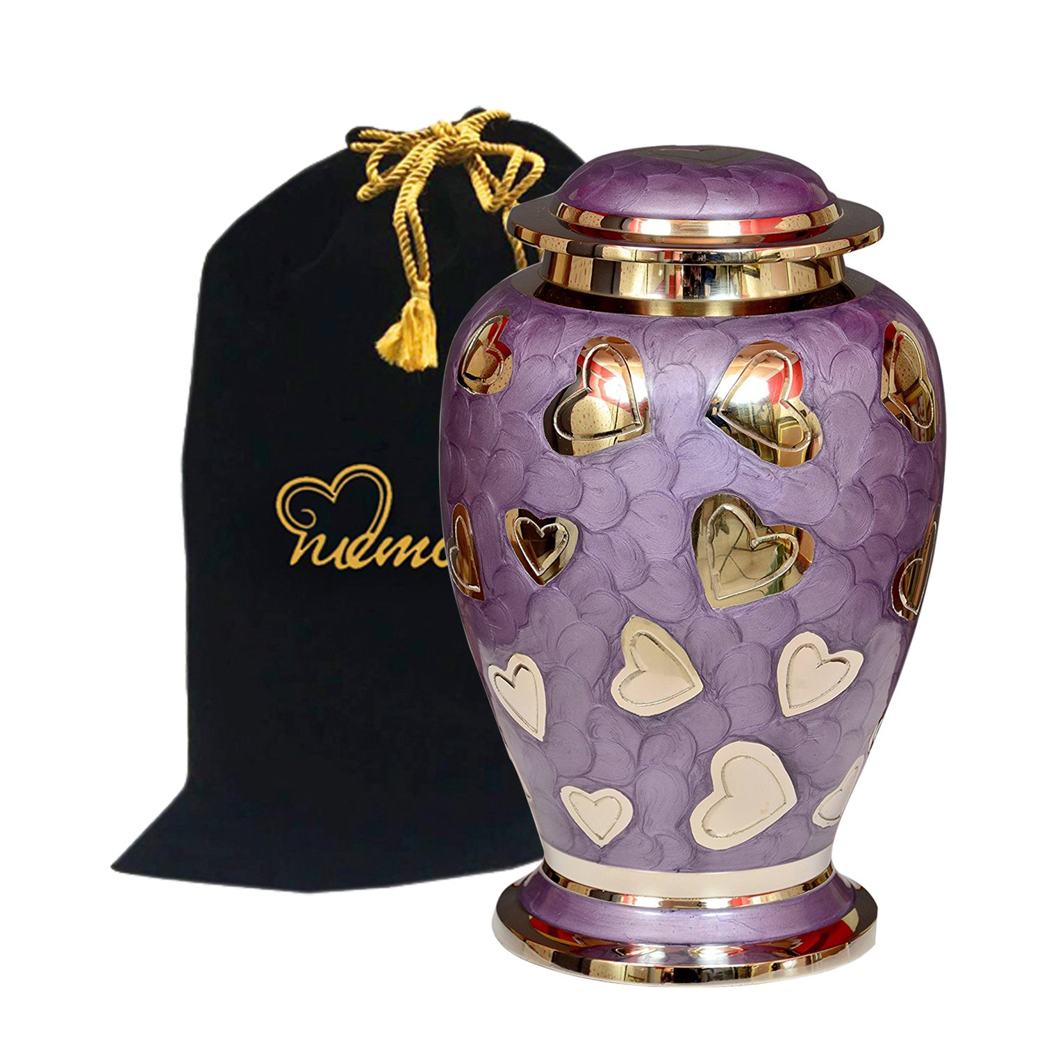 Lavender Hearts Cremation Urn - Purple & Silver Heart Urn - 100% Handcrafted Solid Brass Heart Urn for Human Ashes - Affordable Large Urn with Free Bag Memorials4u