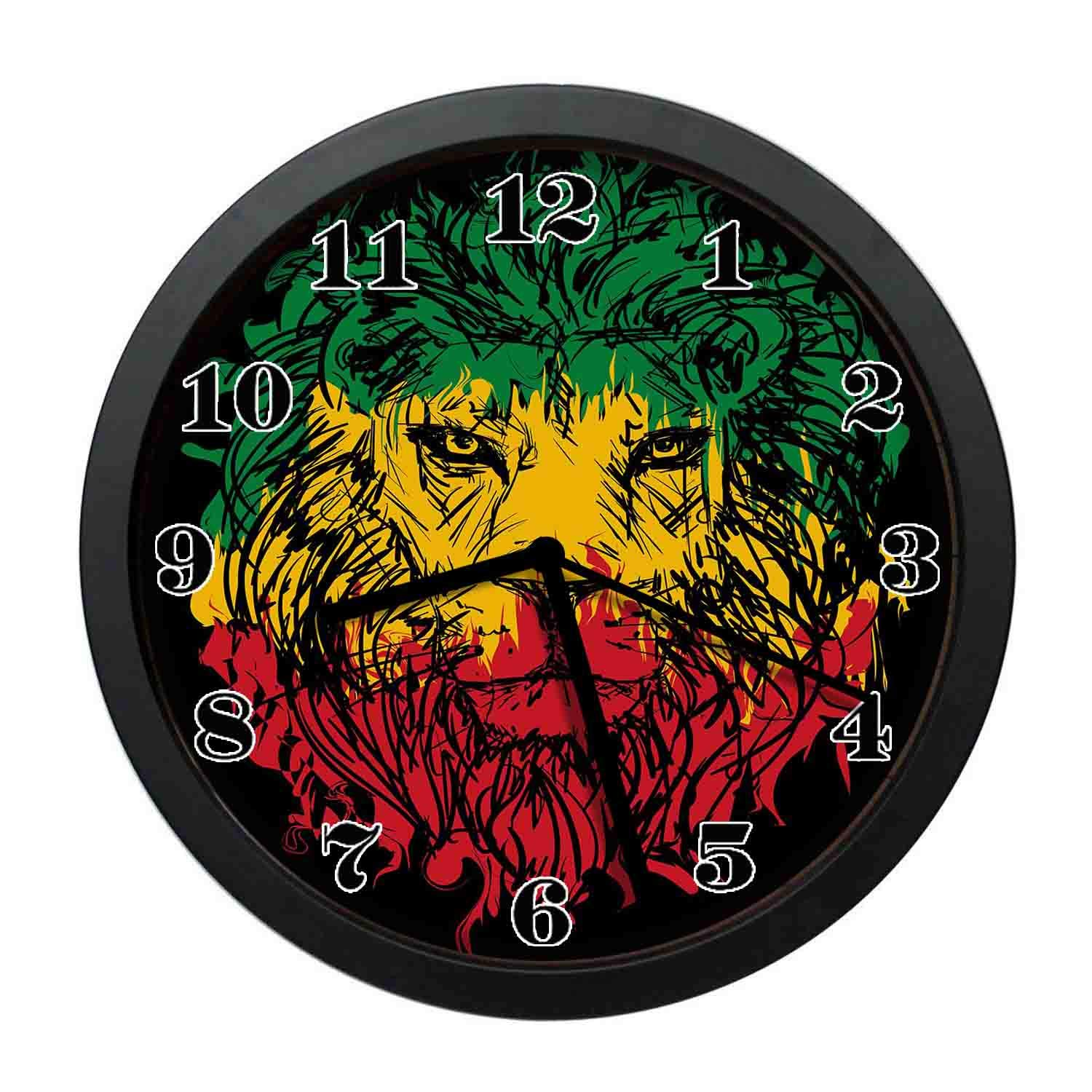 wojuedehuidamai6 Art Wall Clock- Ethiopian Flag Colors on Grunge Sketch Lion Head with Black Backdrop Theme Art Decor Wall Clock for Home and Office with 12in