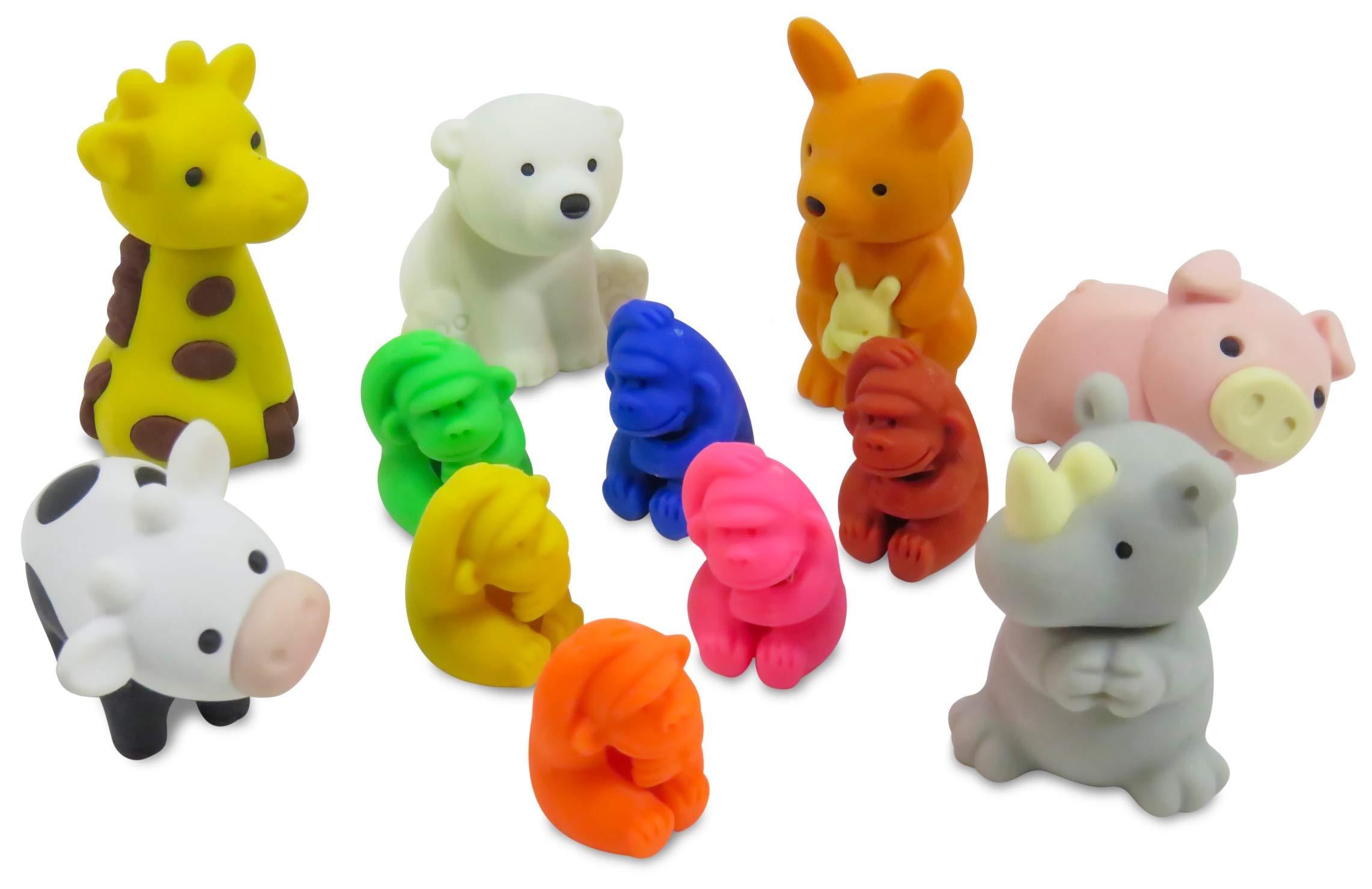 Take Apart Complete Your Collection Mini Erasers Gorilla Giraffe Polar Bear Rhino Kangaroo Pig Cow (Pack of 12) by Daiso Japan (Image #1)