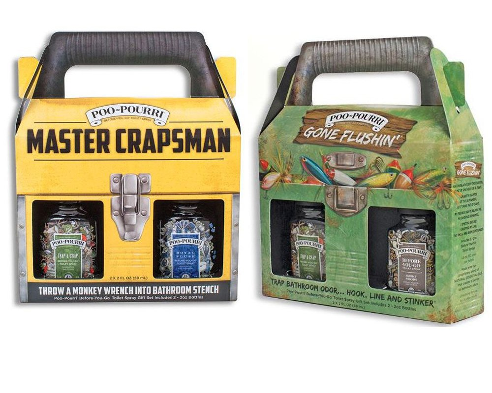 10:21 Gifts, Keepsakes, and Bundles Poo-Pourri Mens Gift Set Bundle - Master Crapsman Tool Box Gone Flushin Tackle Box - Includes (4) 2 oz Bottles