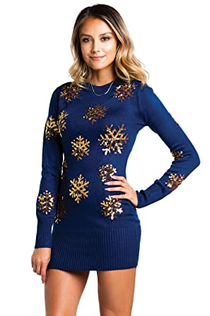 ec21dbe7fd4 Women s Sequined Snowflake Christmas Sweater Dress - Navy and Gold Cute  Snowflake Dress  X-