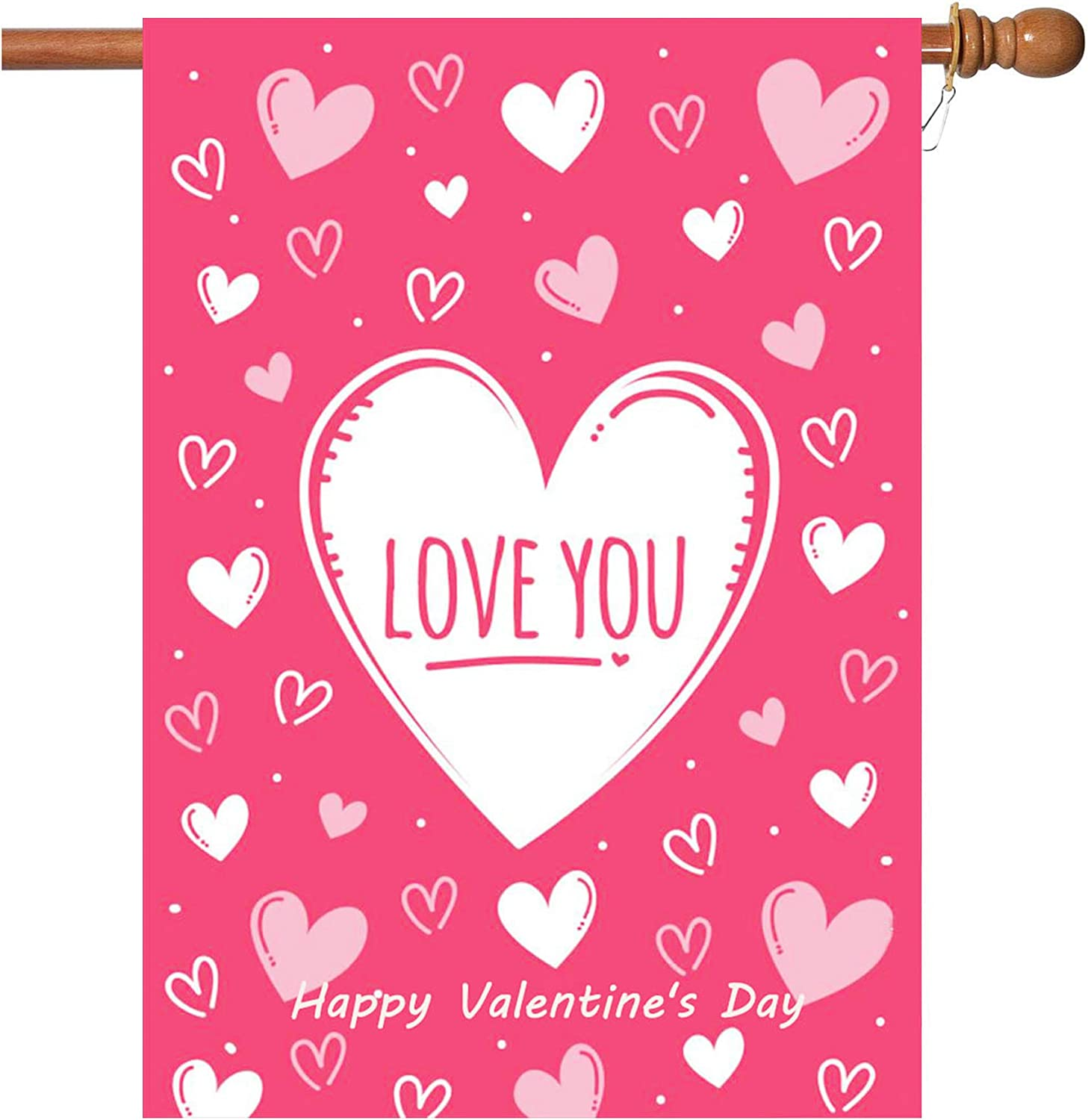 W&X Valentine's Day Flag,28x40 Inch Valentine's Heart Garden Flag with Two Grommets Double Sided Printing 2 Layer Burlap Valentine Flags for Your Valentine's Day Decoration
