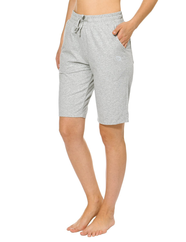 Baleaf Women's Active Yoga Lounge Bermuda Shorts with Pockets Light Gray Size L