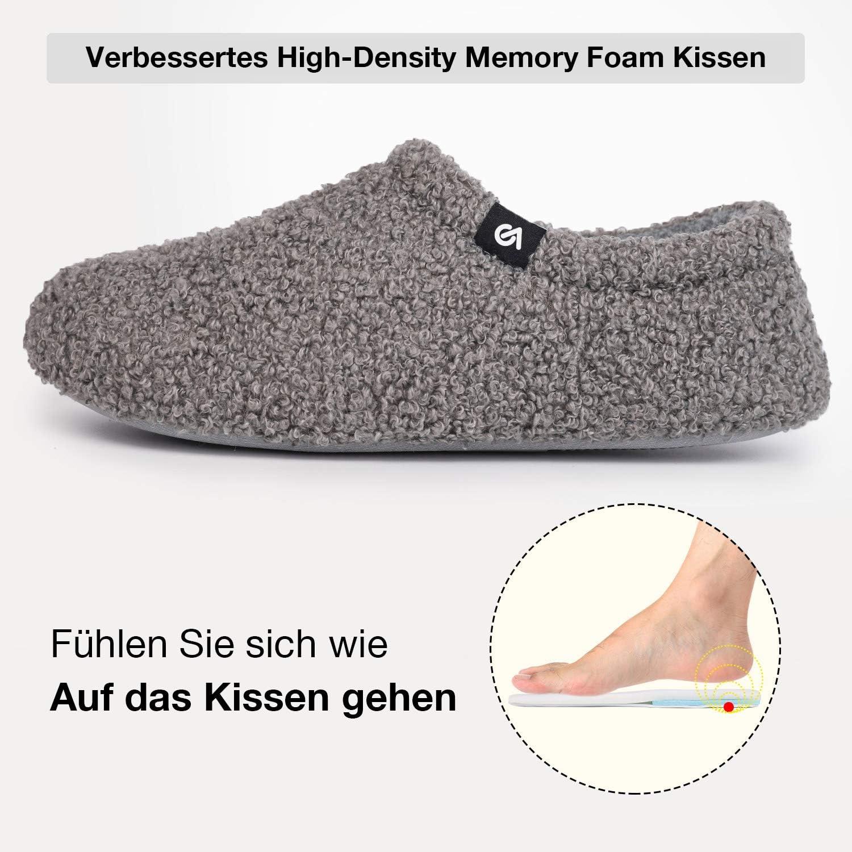 VeracCosy Damen Memory Foam Pl/üsch Hausschuhe Antirutsch Baumwolle Pantoffeln Mit Polar Fleece-Futter