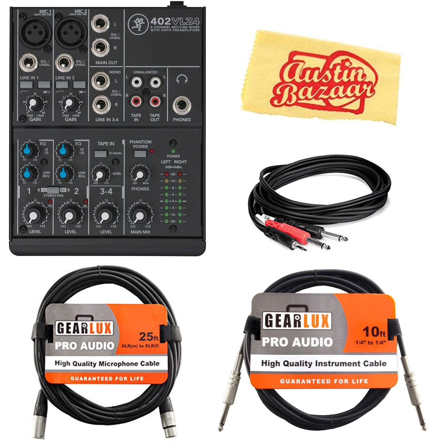 Mackie 402VLZ4 4-Channel Ultra-Compact Mixer Bundle with XLR Cable, Instrument Cable, Stereo Breakout Cable, and Austin Bazaar Polishing Cloth by Mackie (Image #1)