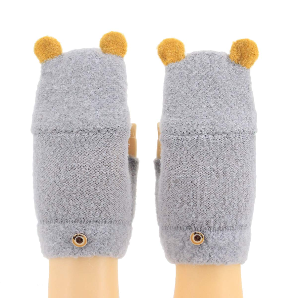 MIA Toddler Kids Winter Cute Rabbit Ears Gloves Jacquard Knitted Wools Mitten Stretchy Glove Set