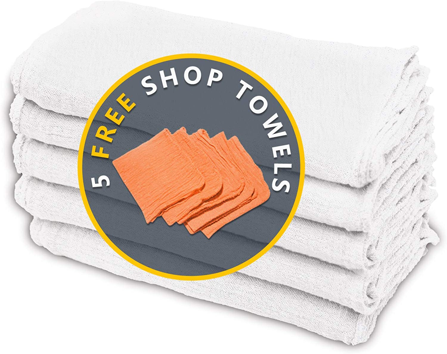 Cotton Homes Shop Towels Rags – Pack of 50 ($0.3/Each)- 12 x14 Inch- Free 5 Shop Towels-Regenerated Cotton Multipurpose Cleaning towels, Paint Cloth, Bar Towels- Prewashed and Reusable.