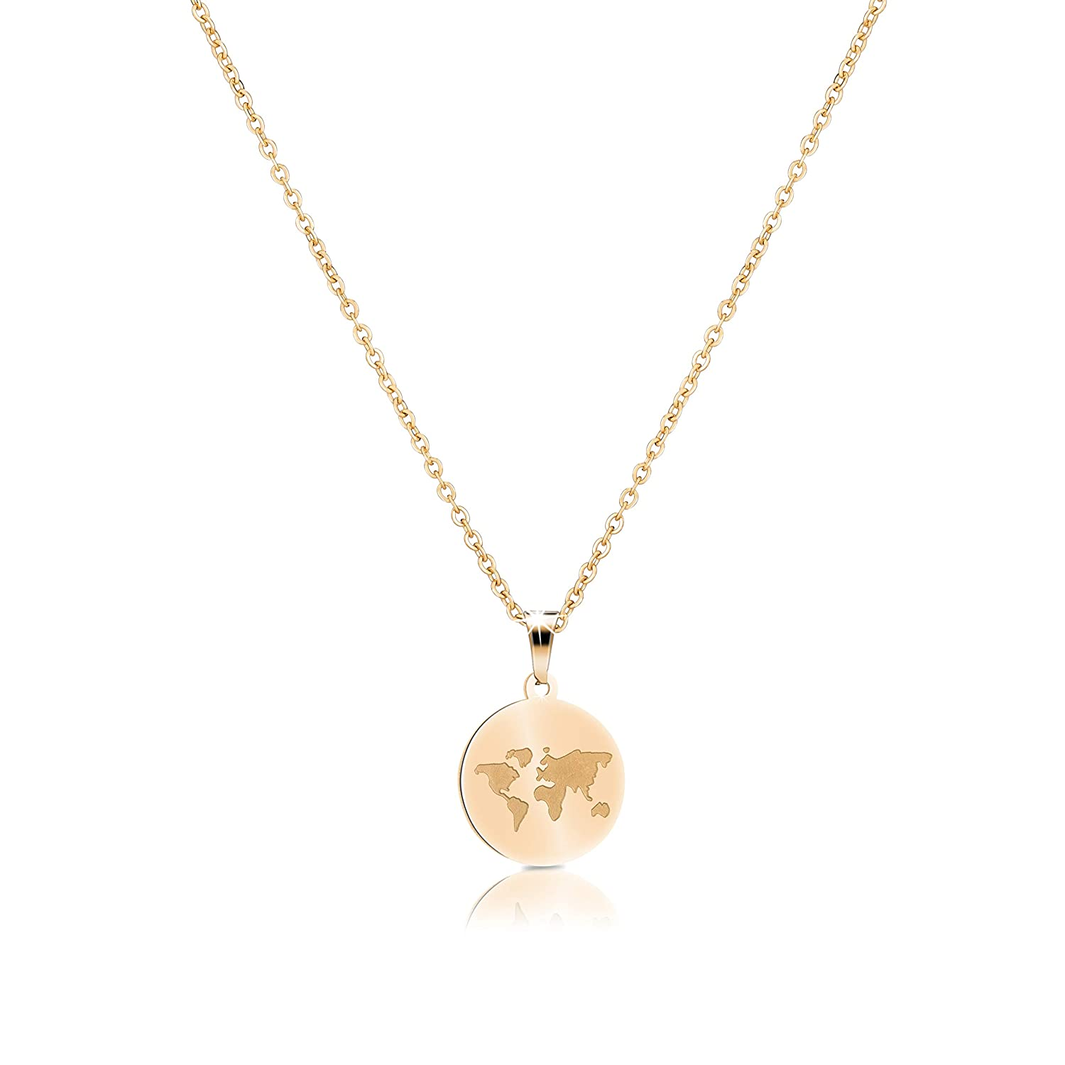 52c429d751b1e GOOD.designs ® Ladies World Necklace in Silver, Gold or Rose Gold, World  Map Coin Necklace, Chain length 18 in (45 cm)
