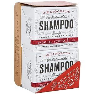 J.R.LIGGETT'S All-Natural Shampoo Bar - 2 Original Formula Shampoo Bars and A Solid Wood Shelf-Prolongs the Life of Your Shampoo Bar - Nourish Follicles with Antioxidants and Vitamins - Sulfate-Free