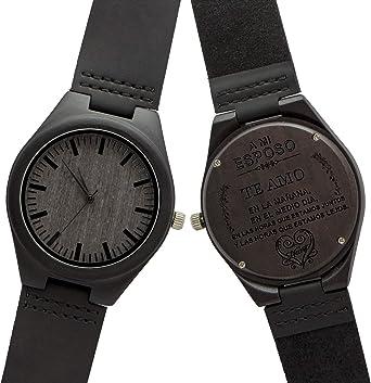 Relojes De Madera Hombre,KENON Reloj de Cuero Natural de Madera Grabado Palabra española Reloj único Texturas (Marido): Amazon.es: Relojes