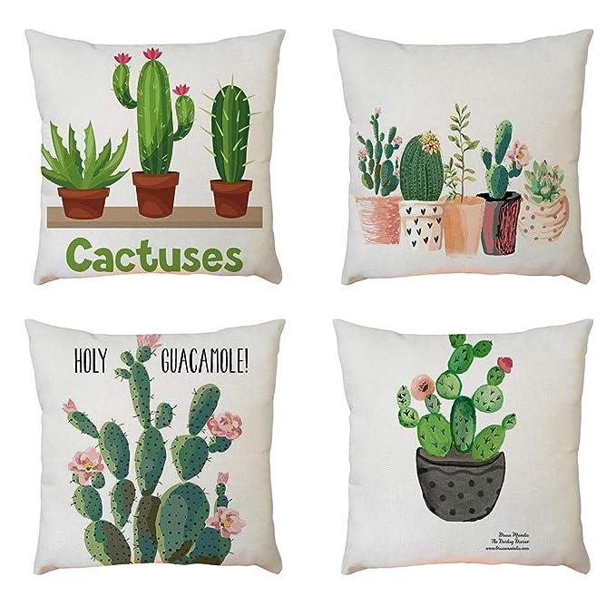 Fossrn Fundas de Cojines 45x45 Planta de cactus Funda de Cojines para Sofa Turquesa Jardin Cama Decorativo